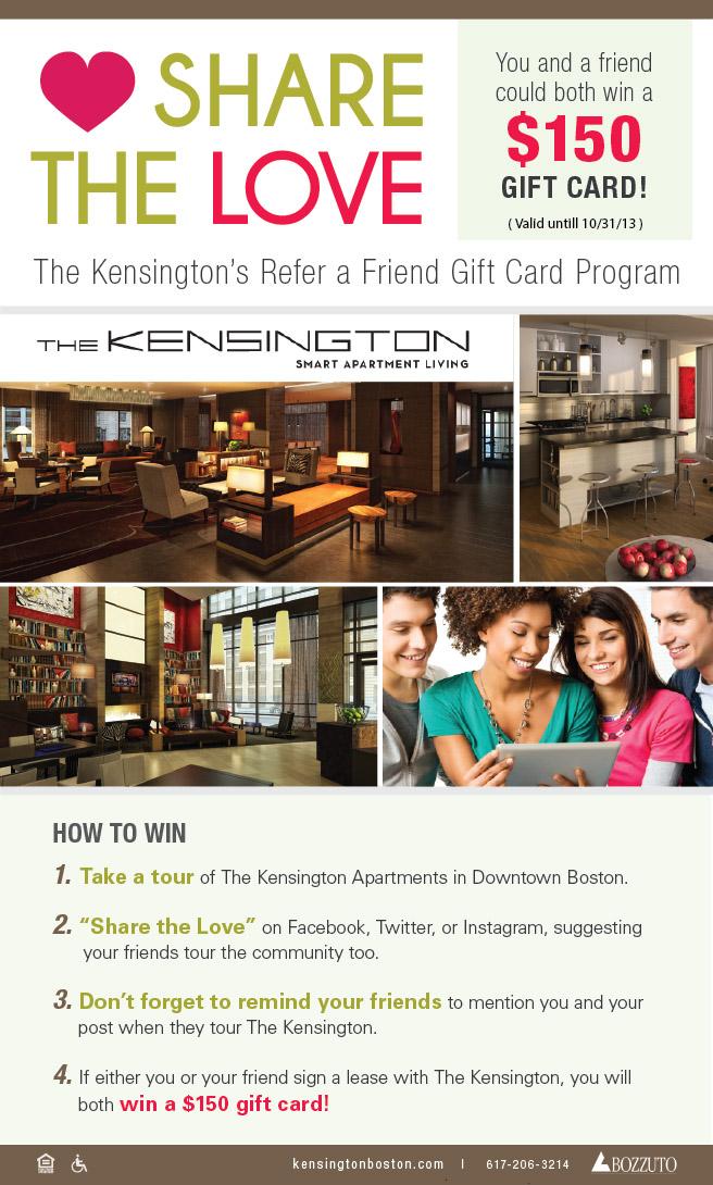 Share the Love: The Kensington's Refer a Friend Gift Card Program