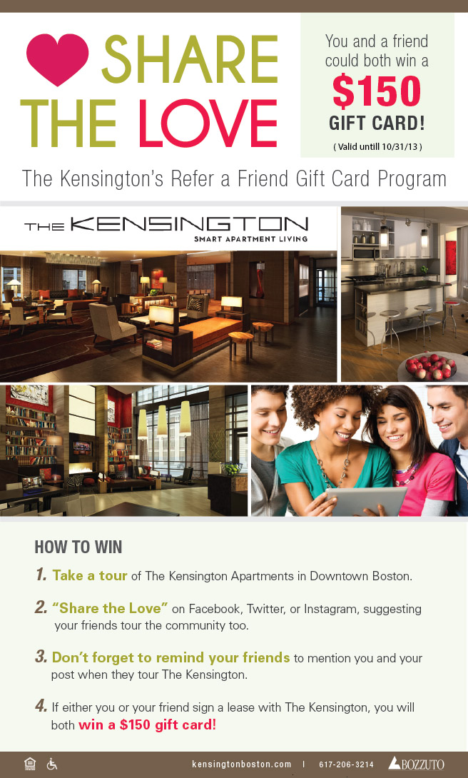 Share the Love: The Kensington's Refer a Friend Gift Card Program